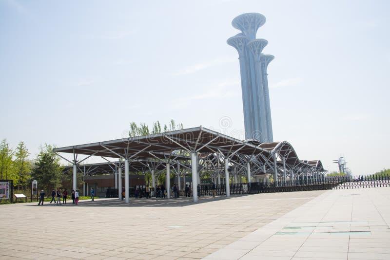 China Asien, Peking, olympische Forest Park, das moderne Gebäude, Galerie, Rahmen, Ausblickturm, lizenzfreie stockbilder
