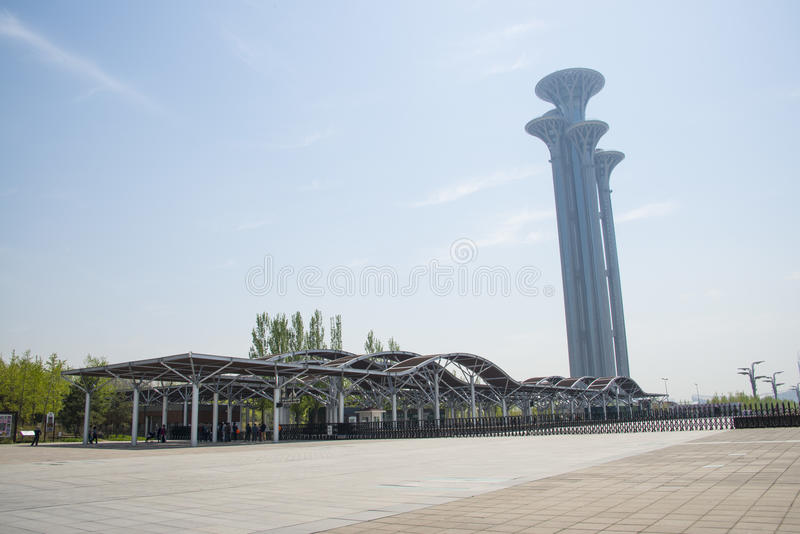 China Asien, Peking, olympische Forest Park, das moderne Gebäude, Galerie, Rahmen, Ausblickturm, stockbild