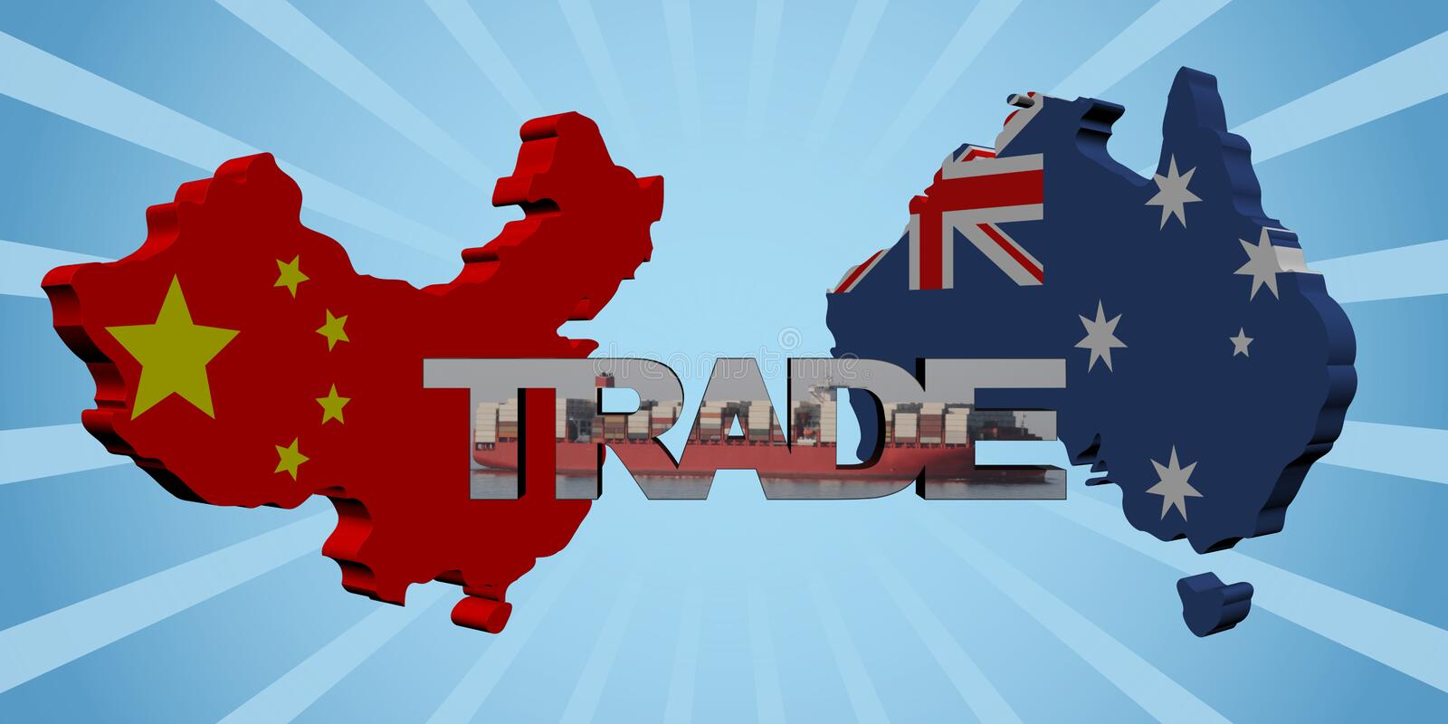 China Australia map flags with trade text illustration. China Australia map flags with trade text 3d illustration royalty free illustration