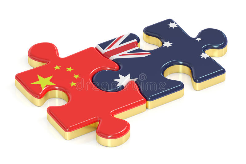 China and Australia puzzles from flags, 3D rendering stock illustration