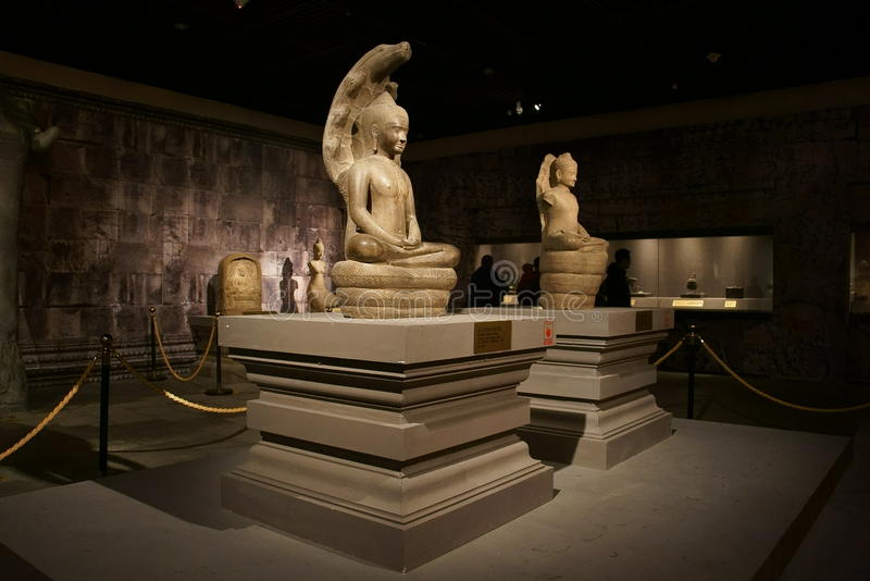 China Azië, Peking, de het hoofdmuseum, overblijfselen van Cambodja Angkor en Art Exhibition royalty-vrije stock foto's