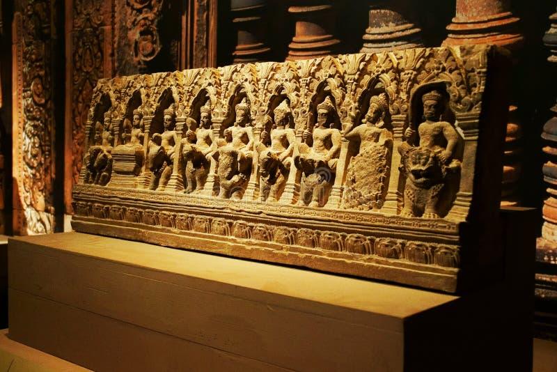 China Azië, Peking, de het hoofdmuseum, overblijfselen van Cambodja Angkor en Art Exhibition stock fotografie