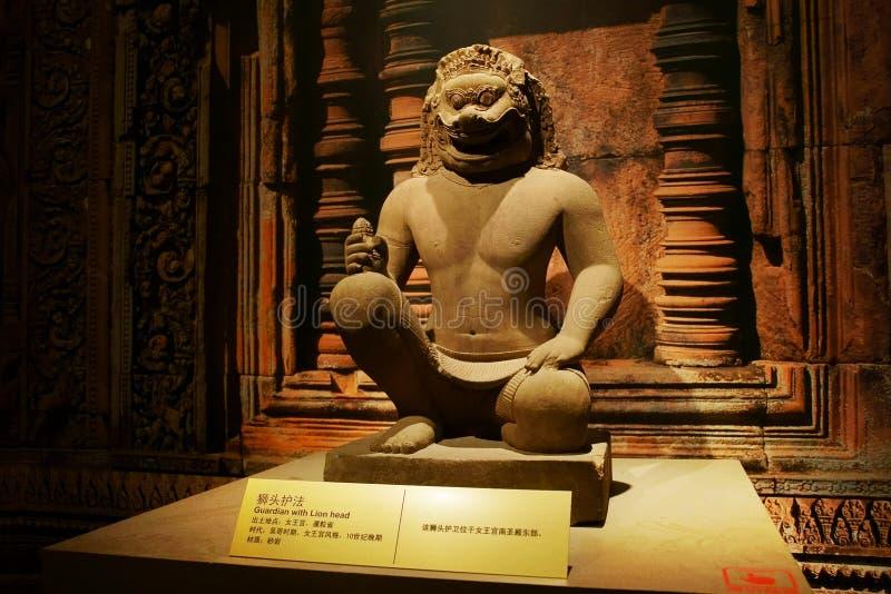 China Azië, Peking, de het hoofdmuseum, overblijfselen van Cambodja Angkor en Art Exhibition royalty-vrije stock afbeelding