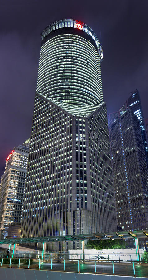 China Bank Tower at Lujiazui area at night, Shanghai, China royalty free stock photo