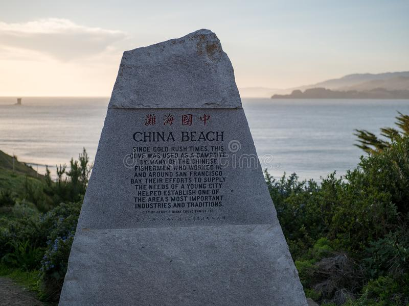 China Beach monument in San Francisco, CA. SAN FRANCISCO, CA - MARCH 30, 2018: China Beach monument in San Francisco, CA stock images