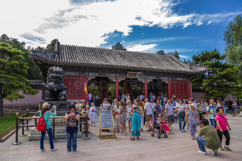 China, Beijing. Oriental Palace Gate (Donggongmen) - the main entrance to the Imperial Summer Palace. The Summer Palace (Yíhe Yuan) is a vast ensemble of royalty free stock images