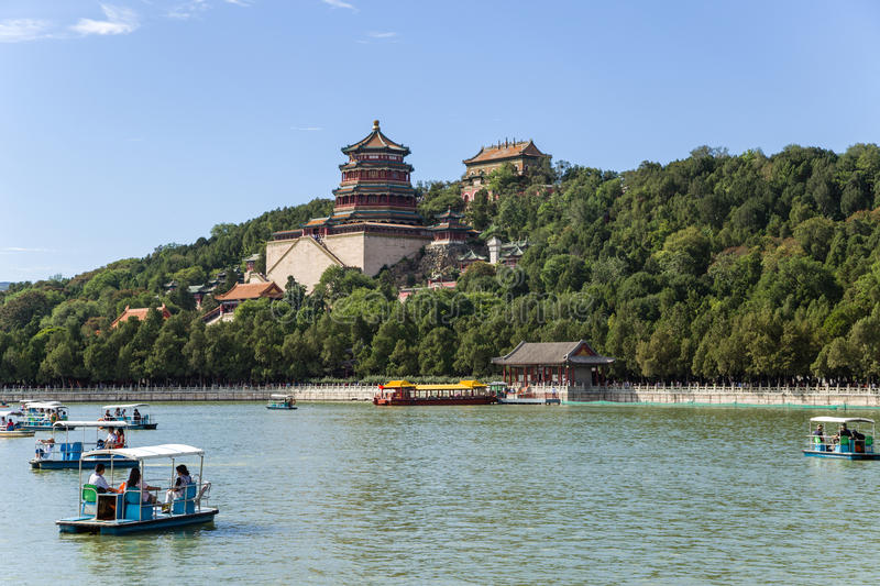 China, Beijing. Summer Palace (Yíhe Yuan). Longevity Hill and Temple (tower) Foxiangge - Tower of Buddhist Incense. The Summer Palace (Yíhe Yuan) is a stock photo