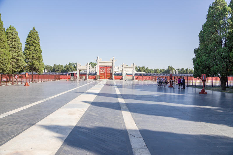 China, Beijing. Temple of Heaven (Tiantan). Erecting Clouds Gates (Yunmenyuli) royalty free stock photo