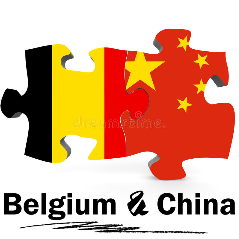 China and Belgium flags in puzzle. On white background, 3D rendering stock illustration