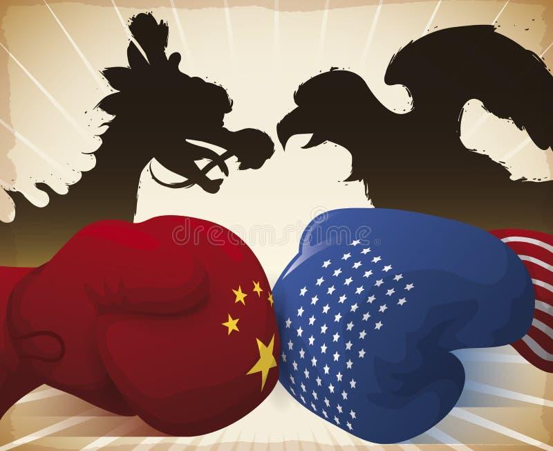 Gloves Crashing and Dragon versus Eagle Symbolizing the Trade War, Vector Illustration royalty free illustration