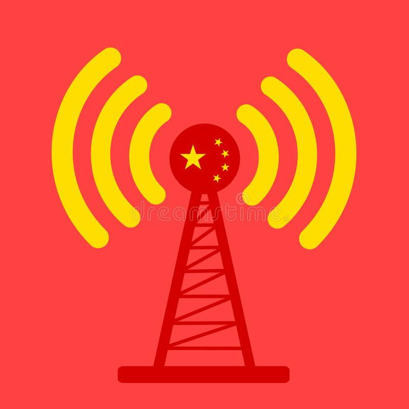 China and broadcasting. Broadcasting and distribution of informations and signal from national broadcaster of China - Chinese national and state mass media vector illustration