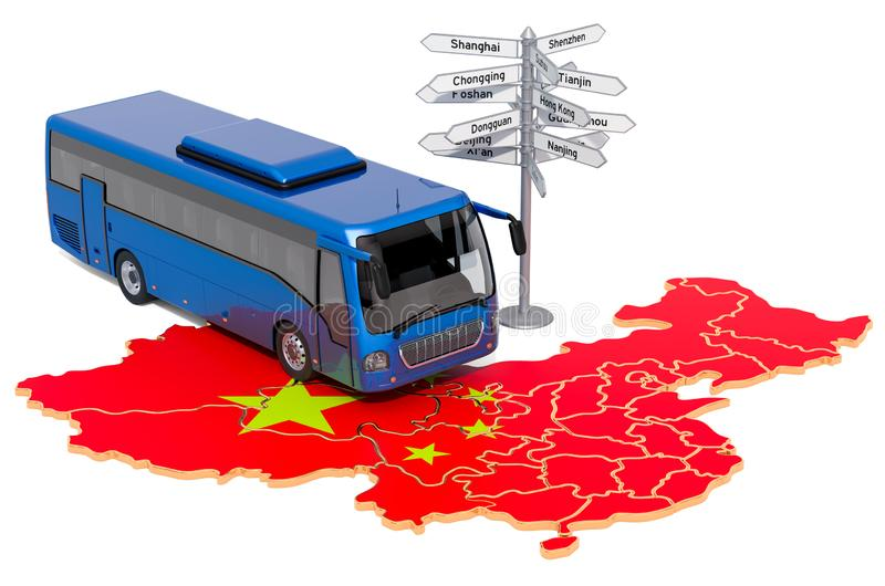 China Bus Tours concept concept. 3D rendering. Isolated on white background vector illustration
