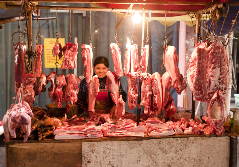 Download China: Butcher stall editorial photo. Image of pork, homemade - 17427086