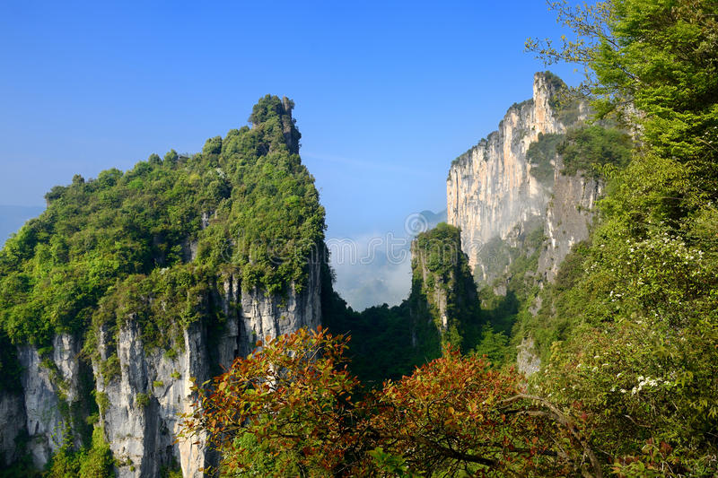 China Canyon Scenic Area. The wild Three Gorges tourism scenic spot is located in Enshi Jianshi County, Huang Heqiao Canyon Scenic area royalty free stock photo