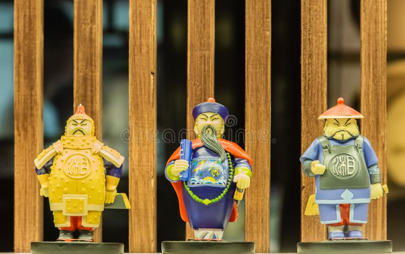 CHINA CHANGSHA city-JUL 06 2017:Chinese traditional type army toy chess figure display royalty free stock image