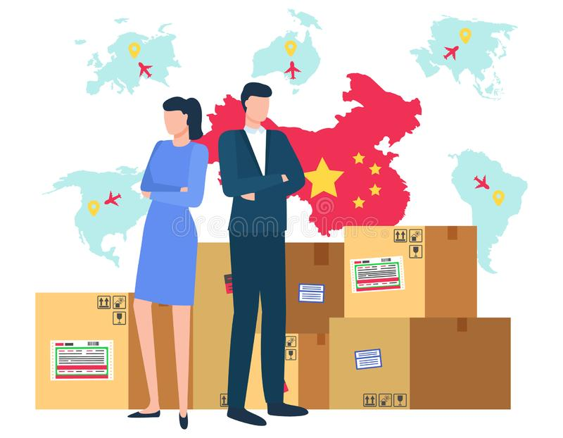 China and Chinese Trade Market, Map with Flag. Woman and man business people dealing with trade vector, China map and flag with carton boxes and packages with stock illustration