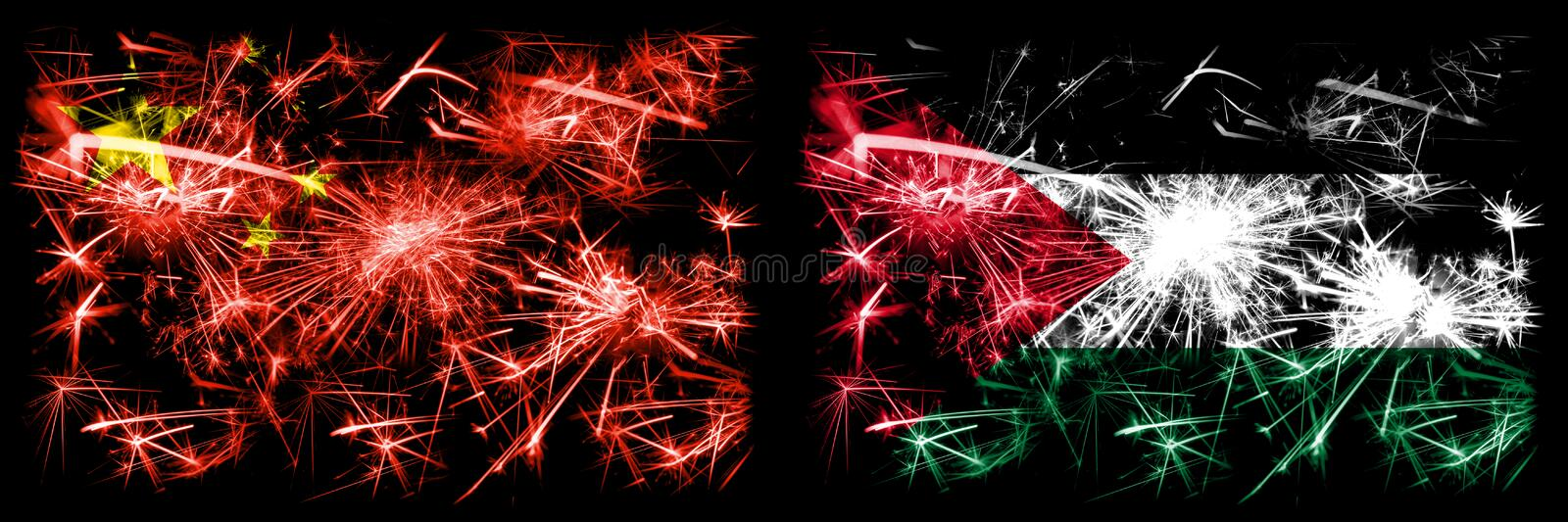 China, Chinese vs Palestine, Palestinian New Year celebration travel sparkling fireworks flags concept background. Combination of. Two abstract states flags royalty free stock photography