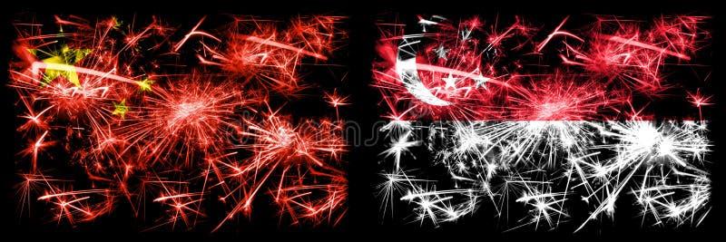 China, Chinese vs Singapore, Singaporean New Year celebration travel sparkling fireworks flags concept background. Combination of stock image