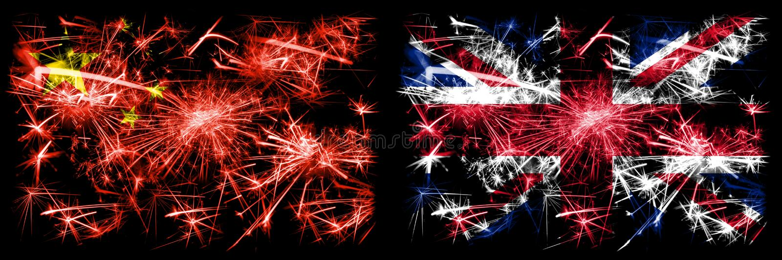 China, Chinese vs United Kingdom, British New Year celebration travel sparkling fireworks flags concept background. Combination of vector illustration