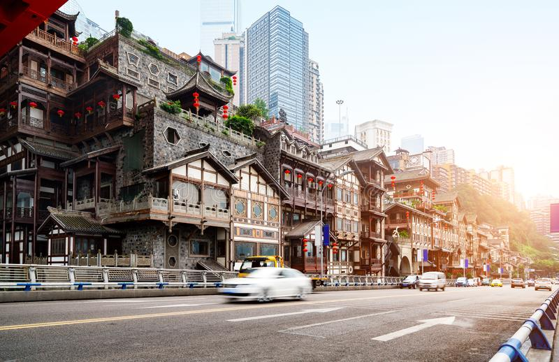 China Chongqing traditional houses on stilts. Chongqing, China`s classical architecture: Hongyadong stock photography