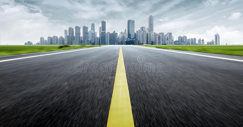 China Chongqing Urban Landscape. Dynamic ambiguous highway access and city skyline, Chongqing, China stock images