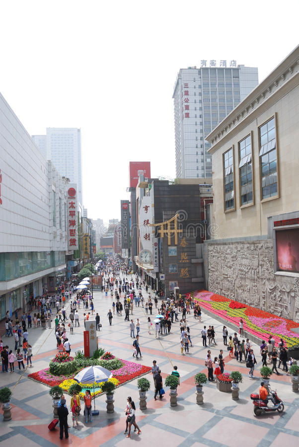 China Chunxi Road. Chunxi Road is located in the street Chengdu JinjiangChunxi Road, covering North New Street to the east, the Zongfu south, west of Hongxing royalty free stock photos