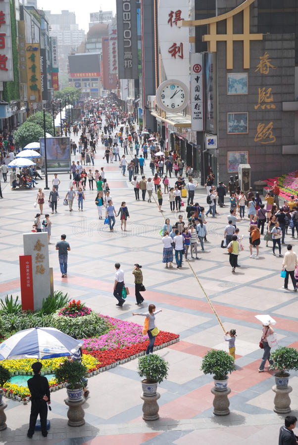 China Chunxi Road. Chunxi Road is located in the street Chengdu JinjiangChunxi Road, covering North New Street to the east, the Zongfu south, west of Hongxing stock image