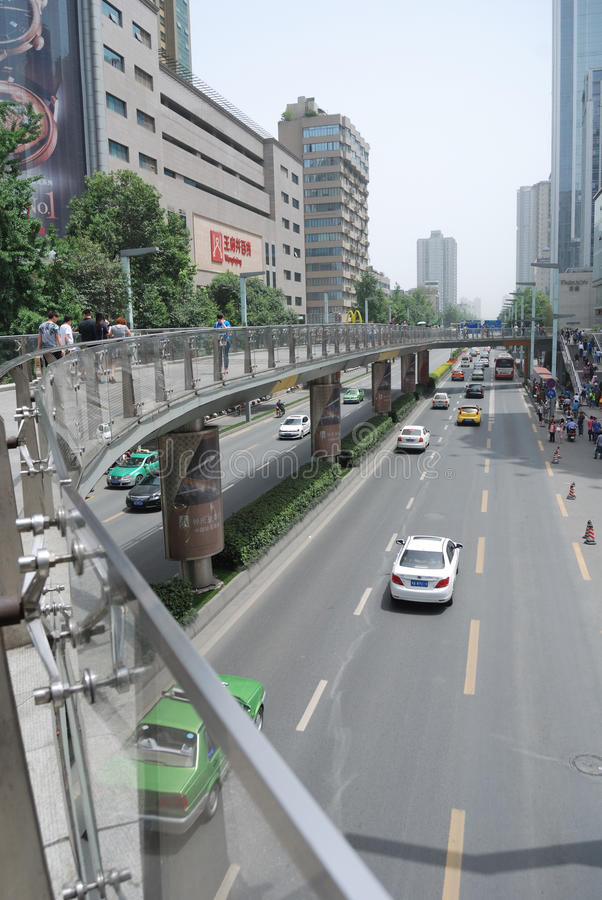 China Chunxi Road. Chunxi Road is located in the street Chengdu JinjiangChunxi Road, covering North New Street to the east, the Zongfu south, west of Hongxing royalty free stock images