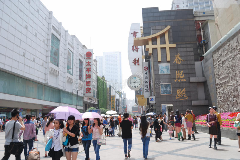 China Chunxi Road. Chunxi Road is located in the street Chengdu JinjiangChunxi Road, covering North New Street to the east, the Zongfu south, west of Hongxing stock photography