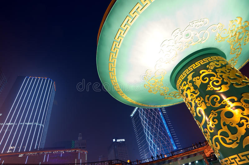 Download China City Center Square Night Stock Image - Image of facilities, skyscraper: 39508847