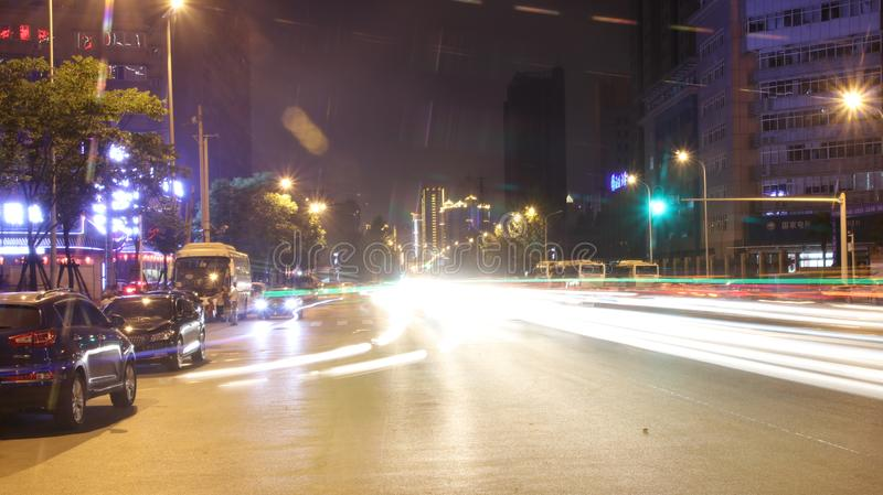 China city night view. This is China Wu Han city night view,traffic,The light wire drawing stock photos