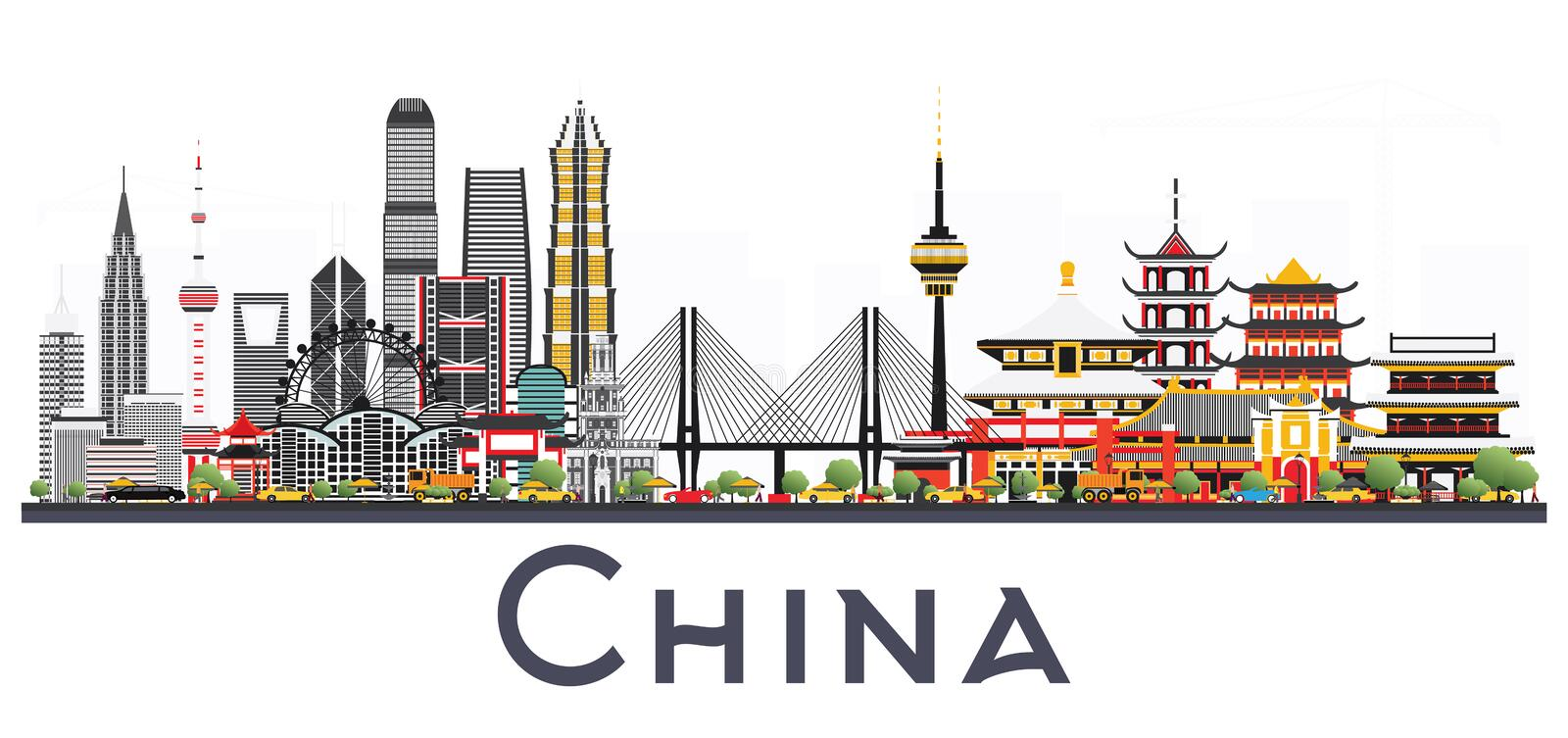 China City Skyline Isolated on White Background. Famous Landmark. S in China. Vector Illustration. Business Travel and Tourism Concept. Image for Presentation royalty free illustration