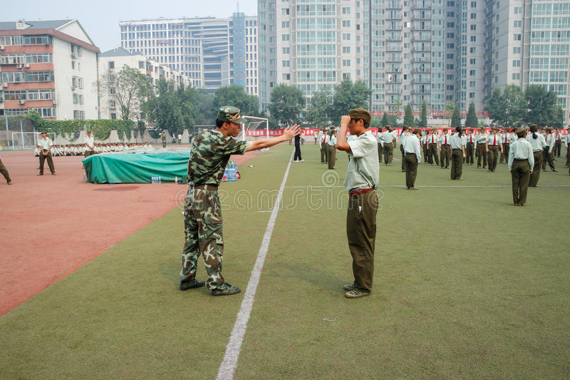 China college students military training 22. In China, students are required to enter university experienced military experience stock images