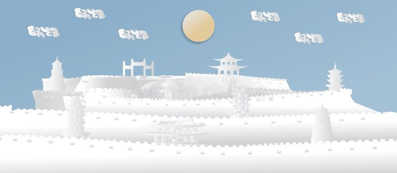 China com a parede mundialmente famosa do marco de China, imagens panorâmicos para cartazes do turismo, no estilo cortado de pape ilustração royalty free