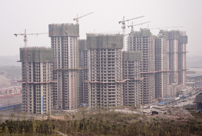 Download China: Construction Site In A Polluted City Royalty Free Stock Photography - Image: 18092097