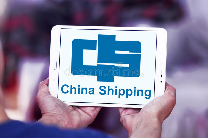 China container shipping logo. Logo of container shipping company, china shipping on samsung tablet stock image