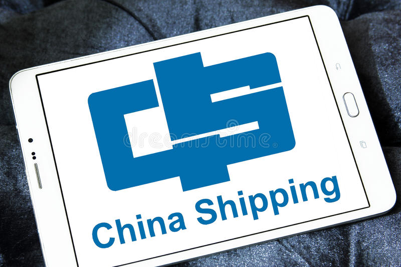 China container shipping logo. Logo of container shipping company, china shipping on samsung tablet stock images