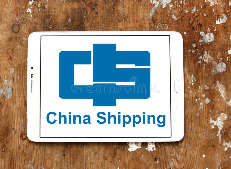 China container shipping logo. Logo of container shipping company, china shipping on samsung tablet on wooden background stock photos