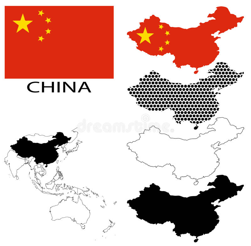 China Contour Maps National Flag And Asia Map Vector Stock