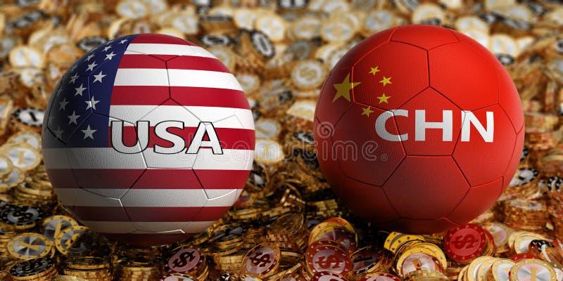 China contra Fósforo de futebol dos EUA - bolas de futebol em China e cores nacionais dos EUA em uma cama de moedas douradas do d fotografia de stock