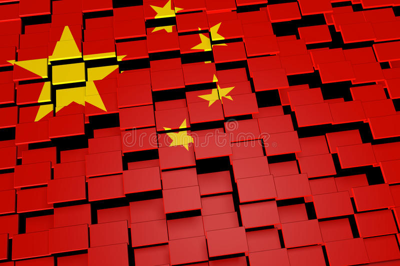 China country flag background formed from digital mosaic tiles, 3D rendering vector illustration