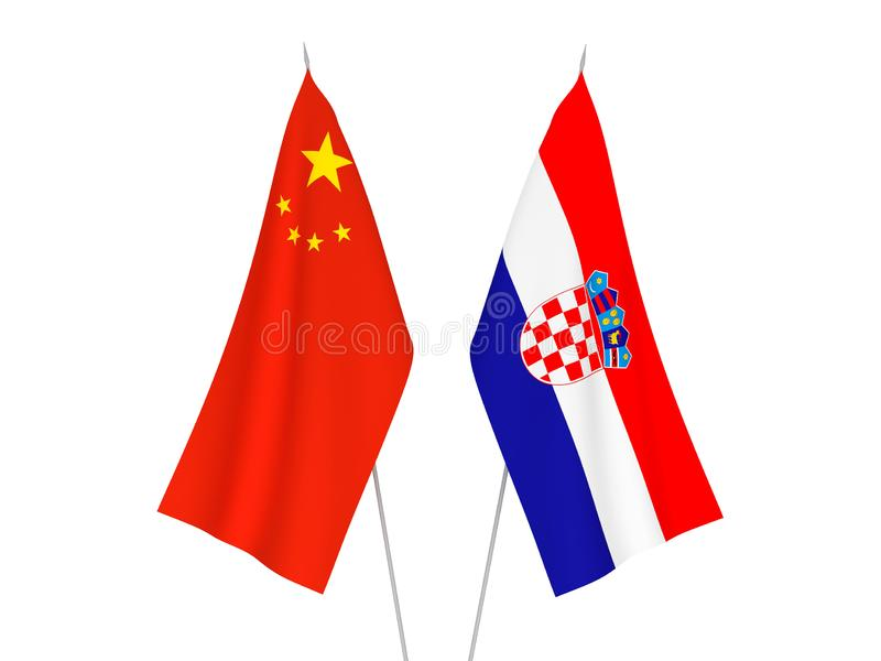China and Croatia flags. National fabric flags of China and Croatia isolated on white background. 3d rendering illustration vector illustration
