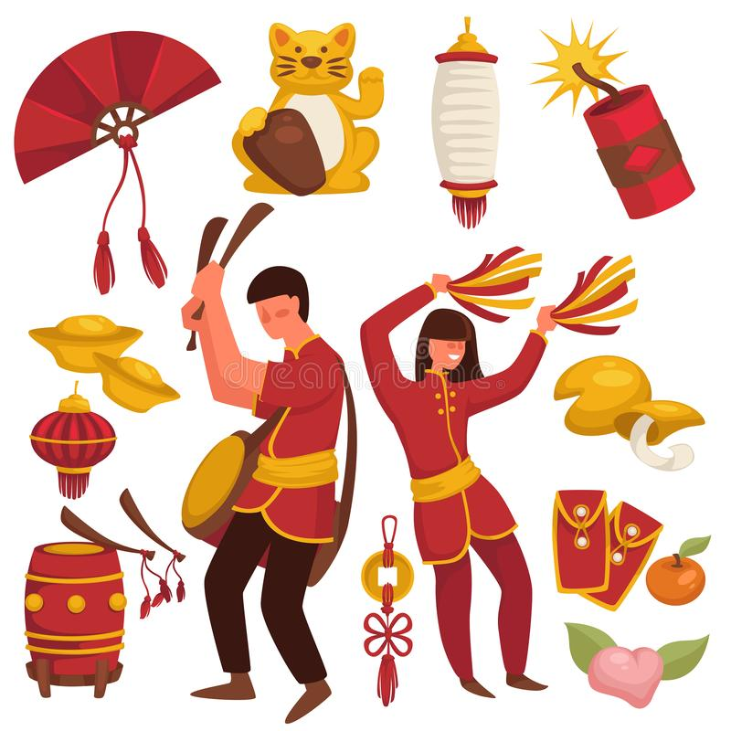 China culture, Chinese traditional symbols, Asian man and woman royalty free illustration