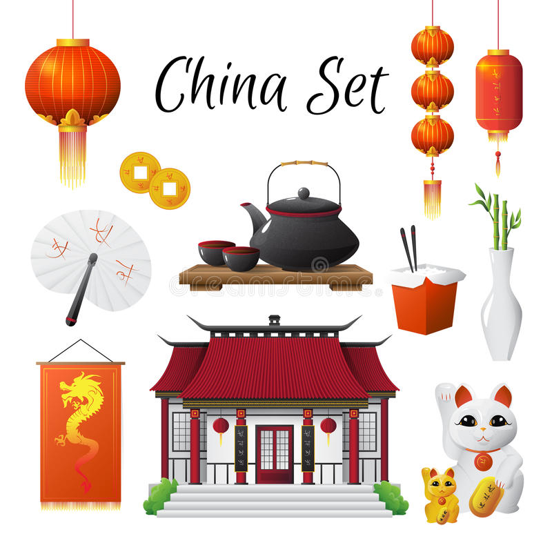 China Culture Traditions Symbols Collection Stock Vector