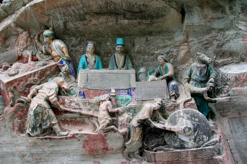 China - Dazu Carvings. Ancient Dazu Carvings from near Chongqing, Sechuan, China. Original carvings date back to 892 AD royalty free stock photos