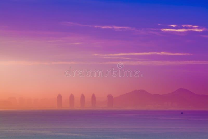 China de Sanya Hainan de la salida del sol fotografía de archivo