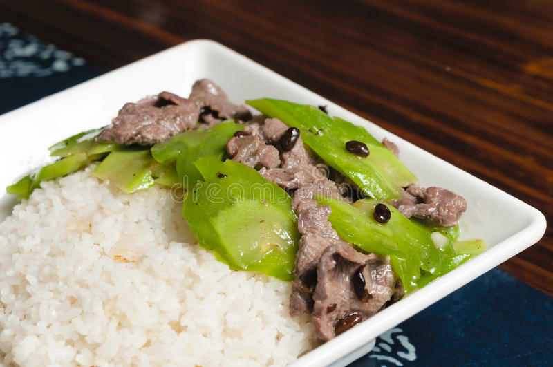 Chinese food--Bitter melon and beef royalty free stock images