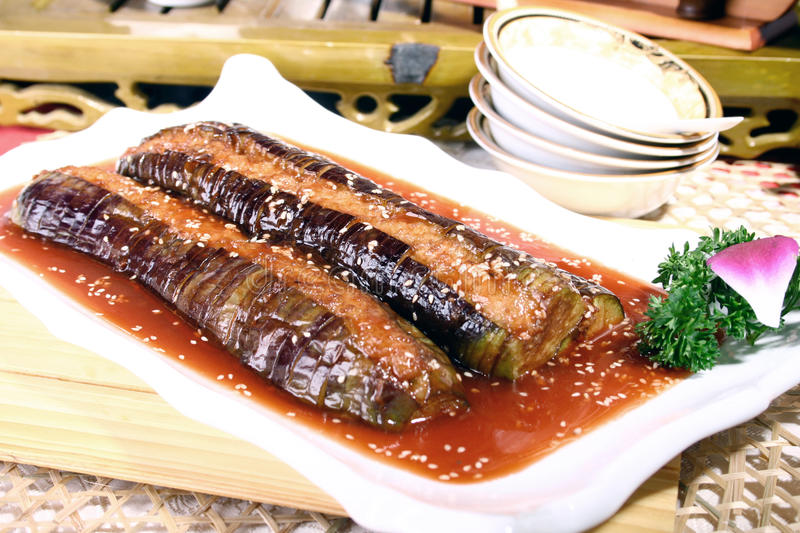 China delicious food--eggplant stock photos