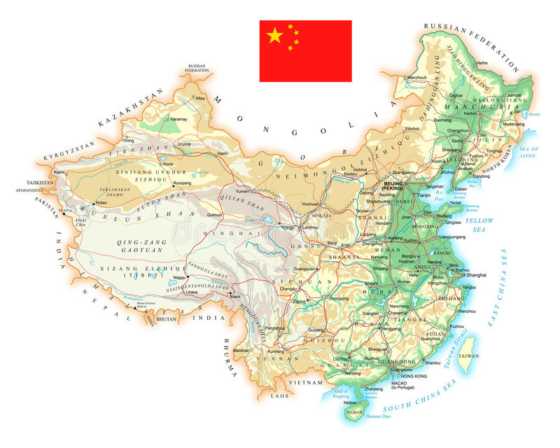 China - detailed topographic map - illustration vector illustration
