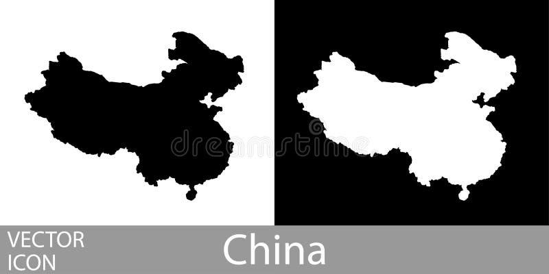 China detalhou o mapa ilustração stock